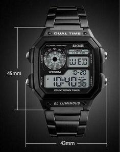 da3f10270df relógio masculino quadrado digital cassio barato com led a prova de agua  relógio cassio feminino preto