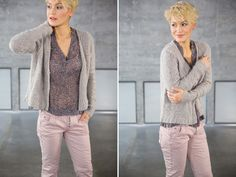 NILE - Monte Rosa 2016 - Floaty Patterned Chiffon Blouse, Short Grey Knitted jacket, Milde Pink Slim trousers.  #lookbookoutfits #lookbookfashion #lookbookphotoshoots