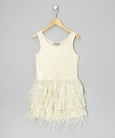 Take a look at this Ivory Sequin Feather Tiered Dress - Girls on zulily today!
