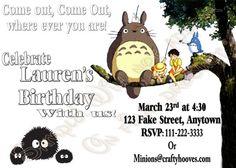 Totoro Birthday Invitations UPrint Custom Party by CraftyHooves,