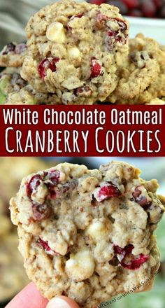 White Chocolate Oatmeal Cranberry Cookies - Kitchen Fun With My 3 Sons - 빵 . - White Chocolate Oatmeal Cranberry Cookies – Kitchen Fun With My 3 Sons – 빵 - Delicious Cookie Recipes, Holiday Cookie Recipes, Yummy Cookies, Holiday Baking, Almond Joy Cookies, Recipe For Good Cookies, Best Cookie Recipes, Recipes For Baking, Simple Cookie Recipes