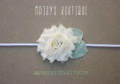 75 Off Ivory Shabby Flower Headband/ Newborn by MaisysBoutique