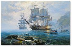 Alarm shot of HMS Agamemnon canvas, oil 90x145; 2016