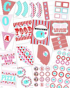 Under The Big Top Circus Carnival Girl...Printable Standard Birthday Party Package...DIY...by DimplePrints. $10.00, via Etsy.