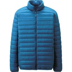 Uniqlo x Ultra Light Down Jacket for Men with Nylon Pouch (Lake Blue) Custom Varsity Jackets, Uniqlo Men, Downlights, Simple Designs, Looks Great, Kids Outfits, Winter Jackets, Coat, Clothes