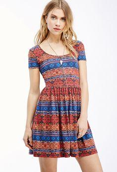 Kaleidoscopic Print Fit & Flare Dress - Shop All - 2000135537 - Forever 21 EU