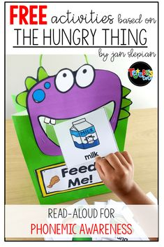 Free activities to go with the book The Hungry Thing by Jan Slepian. Perfect to practice rhyming and phonemic awareness in the beginning of the year with kindergarten and first-grade students. Phonemic Awareness Kindergarten, Phonological Awareness Activities, Kindergarten Language Arts, Rhyming Activities, Speech Therapy Activities, Kindergarten Literacy, Preschool Learning, Preschool Activities, Letter Sound Activities