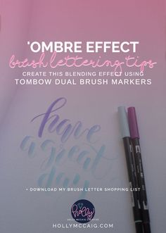 Learn how to create a really cool 'ombre effect with Tombow's Dual Brush Pens and your awesome brush lettering style! Click through to watch the video and find links to the products used in this tutorial. Download my free Brush Lettering Shopping List!