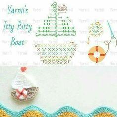 crochet appliquet hook and more boats crochet boat appliques graphic . Crochet Boat, Débardeurs Au Crochet, Crochet Diagram, Love Crochet, Crochet Crafts, Crochet Flowers, Crochet Stitches, Diy Crafts, Appliques Au Crochet