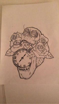 Pocketwatch skull rose tattoo drawing