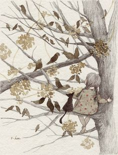 "bellasecretgarden: ""(via Pin by Erin Russek on Illustration Art And Illustration, Art Magique, Whimsical Art, Belle Photo, Cat Art, Cute Drawings, Artsy, Street Art, Sketches"