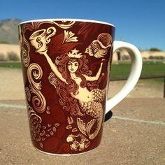 2007 Starbucks Coffee Cup Mug Siren Mermaid Split Tail Anniversary Brown Copper | eBay