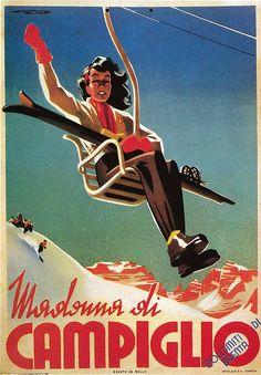 Italian Ski Poster, Madonna Di Campiglio