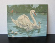 Water Fowl Craft Master Swans Paint Mid Century 1963 Vintage Paint by Number PBN Unframed Painting AtomicPutz.com