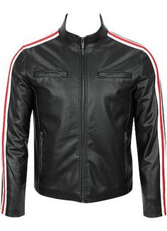 handmade black biker leather jackets by new007shop on Etsy, $109.99