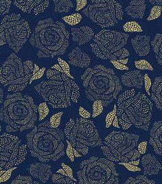 Keepsake Calico Cotton Fabric - Metallic Rose Navy Gold