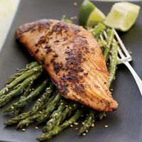 thai salmon with roasted asparagus.  unbelievably delicious, melt in your mouth goodness & HEALTHY!  get wild king salmon for this, you can thank me later.