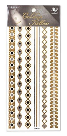 King Horse Small Metallic Model Cross Leaves Jewelry Temporary Tattoos Golden. Fashion Metallic Jewelry Temporary Tattoo with Gold Black and Silver Color. Tattoo Will Last About 4-6 Days. Safe for the Skin,Waterproof and Environmentally Friendly in Eu and Us Quality Standard. Easy to Wear and Easy to Remove. Perfect for the Beach, the Pool, Parties, Festivals, Concerts.