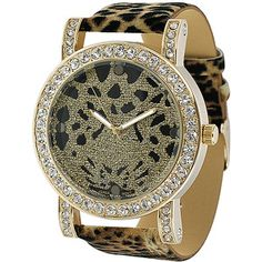 Geneva Platinum Ladies' Rhinestone Animal Print Watch $19.99