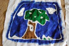 paste resist batik for kids-use flour and water in a syringe then once dry, paint with fabric paint
