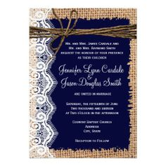 Rustic Country Burlap Lace Twine Wedding Invitations in Navy Blue