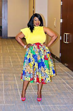 Lemon Asymmetric Top, Multi Print Midi Skirt, Magenta Peeptoe Stilplats