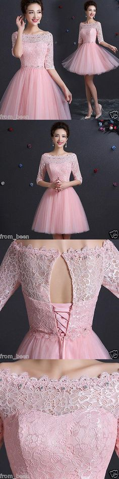 Prom And Formal Dresses: New Pink Lace Short Formal Prom Evening Party Cocktail Bridesmaid Wedding Dress BUY IT NOW ONLY: $40.85 #priceabatePromAndFormalDresses OR #priceabate