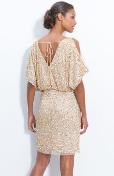 Aidan Mattox Bloused Cold Shoulder Sequin Dress
