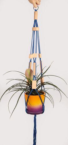 Blu Portavasi pensile 3690cm Macrame pianta di DanceOfTheSoul