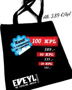 Eveyl tarjoaa parhaat painopalvelut kangaskassi, T-paitoja ja keikka julisteita. Voit myös saada painettu hupparit kohtuuhintaan. http://www.eveyl.com/tuote/kangaskassi-painatus #kangaskassi