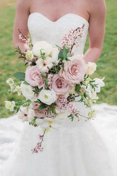 Blush Bridal Bouquet Blush bridal bouquet with roses, ranunculus, hellebores, butterfly ranunculus and crabapple. Wedding bouquet, Dusty RoMauve and blush bridal boWedding of the Week: Emma Spring Wedding Bouquets, Rose Bridal Bouquet, Blush Bouquet, Blush Wedding Flowers, Blush Bridal, Bride Bouquets, Bridal Flowers, Bridesmaid Bouquet, Floral Wedding