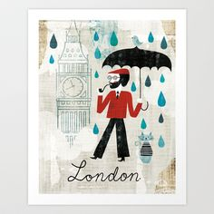Rainy Day in London Art Print by Michael Mullan