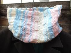 Cowl/neck warmer  pink blue cream  large weave by PolsKnits