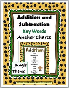 Addition and Subtraction Key Words Anchor Charts - Jungle Theme