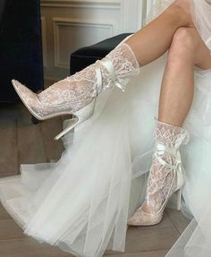 The bride can select from a variety of bridal or evening shoes from a bridal boutique or online wedding store. If the bride wants to add a bit of height which can boost confidence on this special d… Bohemian Shoes, Wedding Bride, Wedding Dresses, Lace Wedding, Wedding Heels, Dream Wedding, Lace Socks, Moda Casual, Bride Shoes