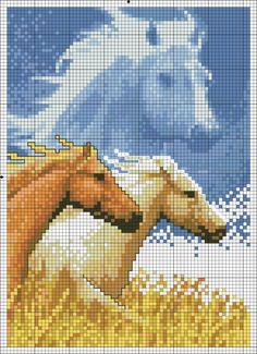 Cross stitch *<3* Point de croix 3 chevaux