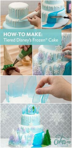Frozen cake idea and decorating tutorial. Must learn how to make this Frozen cake. #disneyfrozen                                                                                                                                                                                 More