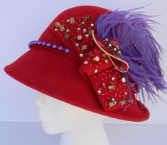 """You'll look """"Red Hot"""" in the haute ladies Red Hat Society hat! Available at www.etsy.com/inhatuation"""