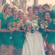 Green lace bridesmaid bouquets   Photo: Sean Walker Photography with Taylor Abeel   www.Instagram.com/theknot