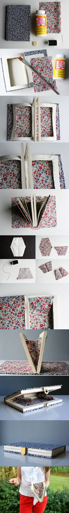 Diy book clutch so creative Cute Crafts, Diy And Crafts, Arts And Crafts, Book Clutch, Book Purse, Clutch Purse, Diy Clutch, Ideias Diy, Diy Accessories