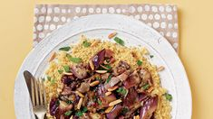 Caponata-Style Braised Eggplant with Couscous - Recipe - FineCooking 386 cal, protein in recipe - add protein Vegetable Dishes, Vegetable Couscous, Pressure Cooker Recipes, Pressure Cooking, Vegetarian Main Course, Healthy Recipes, Healthy Meals, Easy Recipes, Couscous Recipes