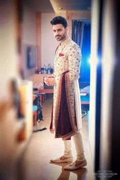 30 Outfits men can wear at an Indian Wedding - Indian groom wear - Sherwani For Men Wedding, Wedding Dresses Men Indian, Groom Wedding Dress, Sherwani Groom, Wedding Men, Indian Weddings, Punjabi Wedding, Boho Wedding, Farm Wedding