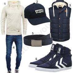 Dunkeblaues Herrenoutfit mit Weste, Hoodie und Cap (m0929) #levis #blend #weste #hoodie #hummel #outfit #style #herrenmode #männermode #fashion #menswear #herren #männer #mode #menstyle #mensfashion #menswear #inspiration #cloth #ootd #herrenoutfit #männeroutfit
