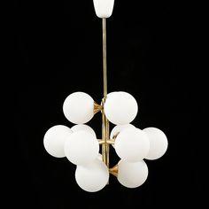 TAKLAMPA, s k sputnikmodell, 1900-talets andra hälft, höjd 80 cm.