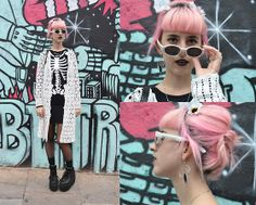 Topshop Skeleton Dress, Giant Vintage Sunglasses Crayons White, Sun Thrift Knitted Shall, Unif Cross Tainer Highs