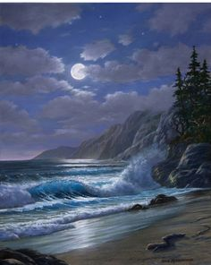Mendocino Moonlight by Tom Rissacher, Oil, Giclee Prints Available