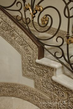 Mediterranean Home Design Ideas, Pictures, Remodel and Decor Marble Staircase, Staircase Railings, Grand Staircase, Staircase Design, Stairways, Tuscan Decorating, Interior Decorating, Home Design, World Decor