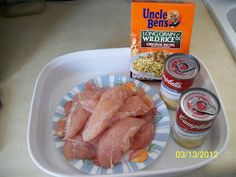 No Peek Chicken: 1 box Uncle Ben's Long Grain Wild Rice (original recipe) 1 can cream of mushroom soup 1 can cream of celery soup 1 1/2 - 2 cans water Chicken breasts or tenders   In a greased 9 x 13 pan, mix the box of rice, cans of celery and mushroom soup and water.   Arrange the raw chicken on top of the rice mixture.  Cover and seal with foil.  Bake at 350 degrees F for 2 1/2 hours and don't peek!