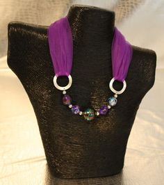 Purple Beaded Necklace-Scarf: