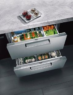 Chilled produce drawers in the kitchen. Make more room in the fridge!